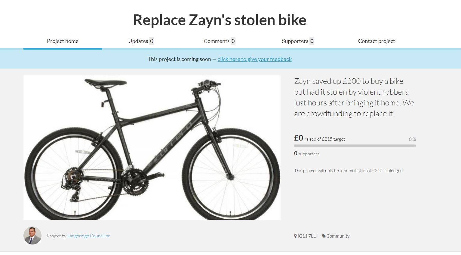 Picture of Zayn Khan's bike, stolen by callous robbers