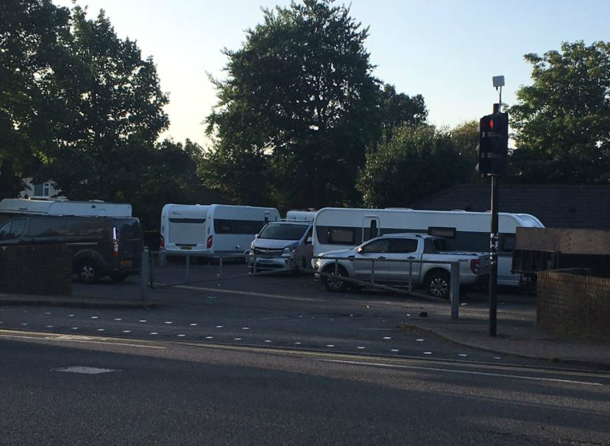Travellers in Chadwell heath car park - credit Phil Anderson