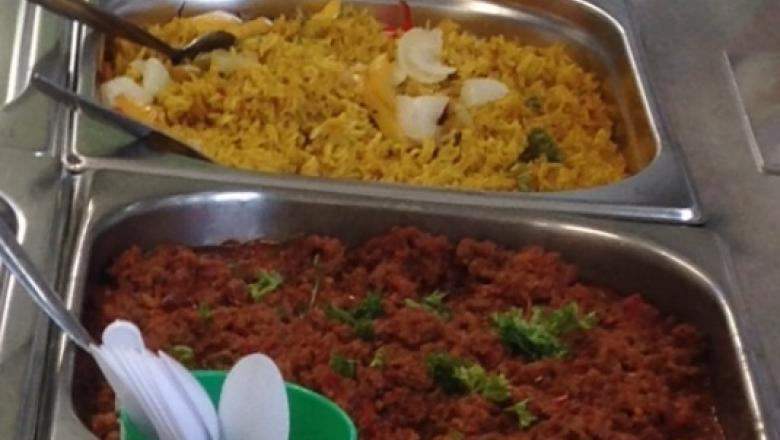 Beef chilli, vegetable biryani and shepherds pie