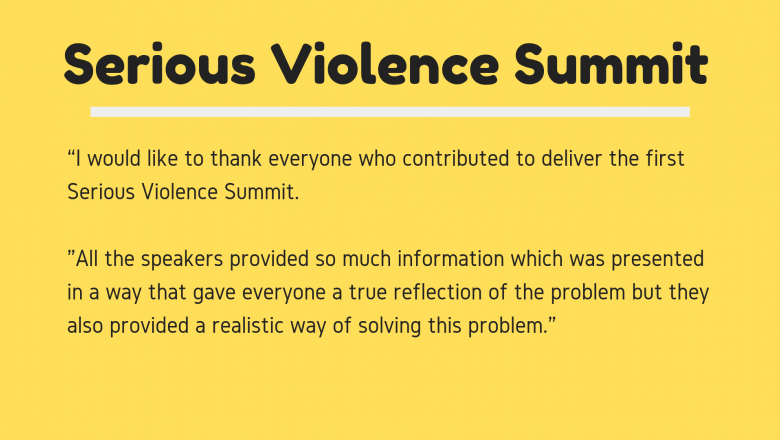 'I would like to thank everyone who contributed to deliver the first Serious Violence Summit. All the speakers provided so much information which was presented in a way that gave everyone a true reflection of the problem but they also provided a realistic way of solving this problem.'
