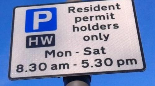 Controlled Parking Zone permit sign