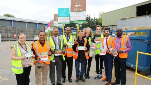 Photo at Frizlands Lane Recycling Centre featuring Cllr Syed Ghani and the Frizlands team