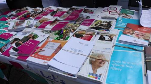 Dementia leaflets on table
