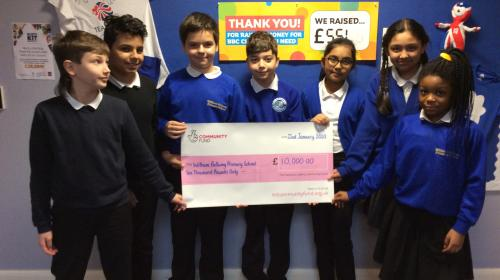 William Bellamy students with their National Lottery cheque